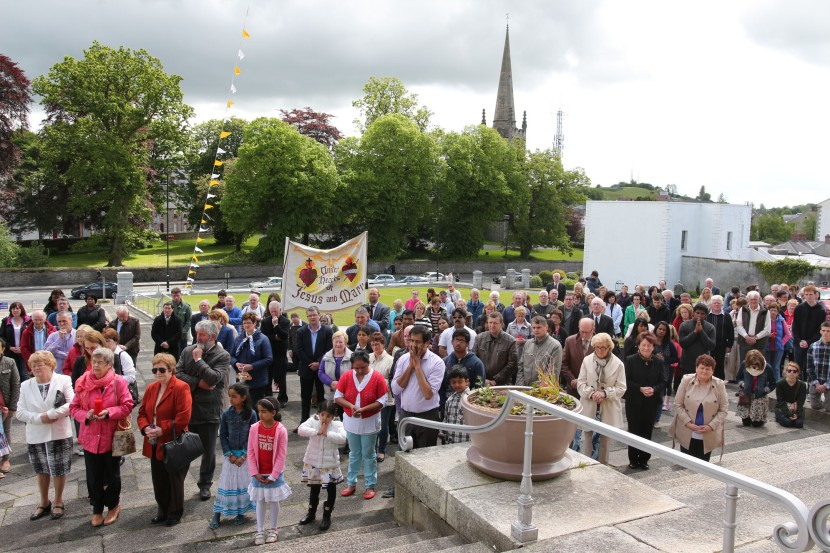 Part of the crowd gathered at the Cathedral for Sunday's The Corpus Christi procession